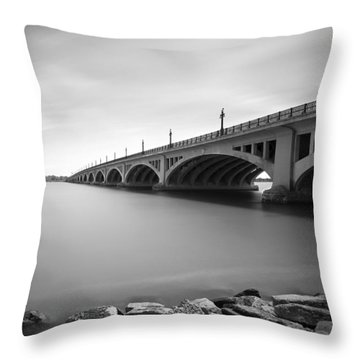 Macarthur Bridge To Belle Isle Detroit Michigan Throw Pillow by Gordon Dean II