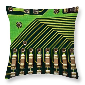 Macro Image Of A Computer Motherboard Throw Pillow by Yali Shi