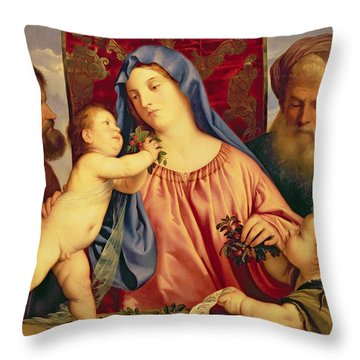 Madonna Of The Cherries With Joseph Throw Pillow by Titian
