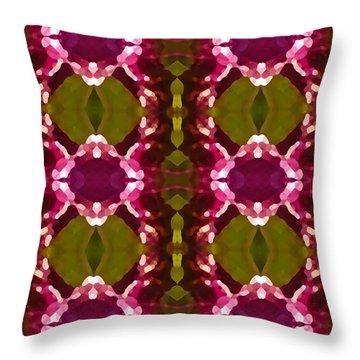 Magenta Crystal Pattern Throw Pillow by Amy Vangsgard