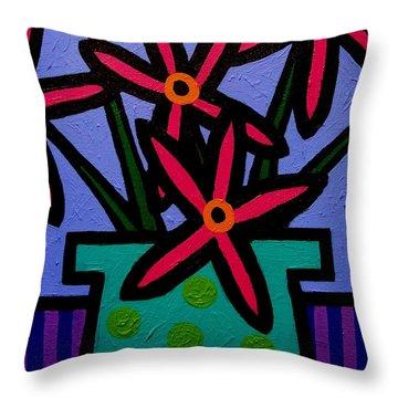 Magenta Flowers Throw Pillow by John  Nolan