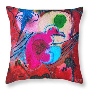 Magenta Marching Bird Throw Pillow by Ana Maria Edulescu