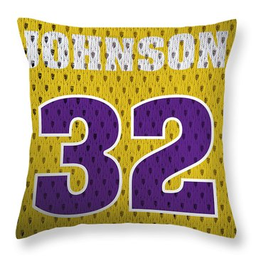 Magic Johnson Los Angeles Lakers Number 32 Retro Vintage Jersey Closeup Graphic Design Throw Pillow by Design Turnpike