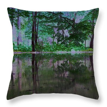 Magical Forest Throw Pillow by Karol Livote