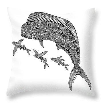 Mahi With Flying Fish Throw Pillow by Carol Lynne