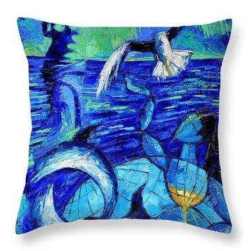 Majestic Bleu Throw Pillow by Mona Edulesco