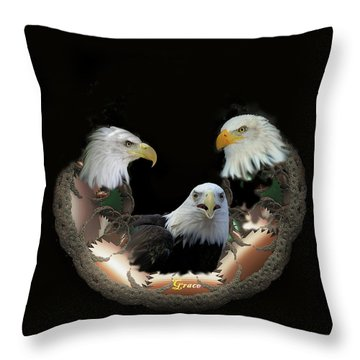 Majestic Eagles Throw Pillow by Julie Grace