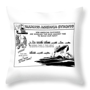 Making America Strong Ww2 Cartoon Throw Pillow by War Is Hell Store