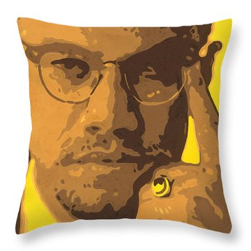 Malcolm El Afroxicano Throw Pillow by Roberto Valdes Sanchez