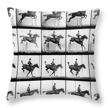 Man And Horse Jumping Throw Pillow by Eadweard Muybridge