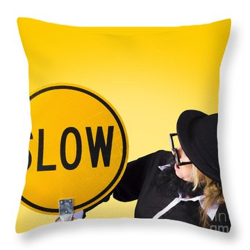 Man Holding Slow Sign During Adverse Conditions Throw Pillow by Jorgo Photography - Wall Art Gallery