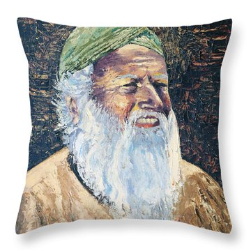 Man In The Green Turban Throw Pillow by Arline Wagner