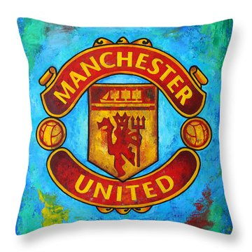 Manchester United Vintage Throw Pillow by Dan Haraga