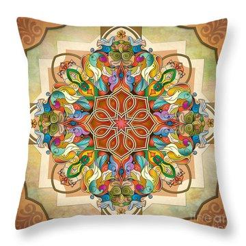 Mandala Birds Throw Pillow by Bedros Awak