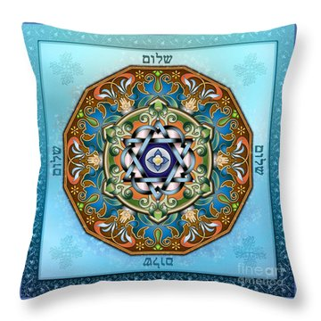 Mandala Shalom Throw Pillow by Bedros Awak