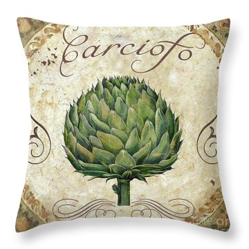 Mangia Artichoke Throw Pillow by Mindy Sommers