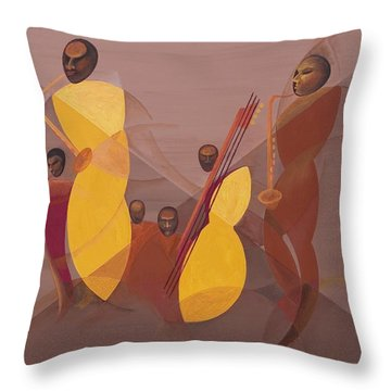 Mango Jazz Throw Pillow by Kaaria Mucherera