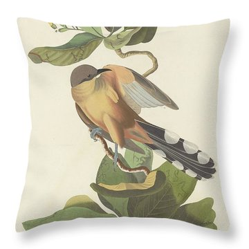 Mangrove Cuckoo Throw Pillow by John James Audubon