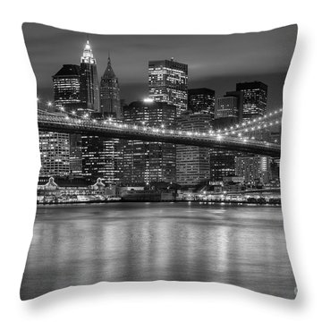 Manhattan Night Skyline Iv Throw Pillow by Clarence Holmes