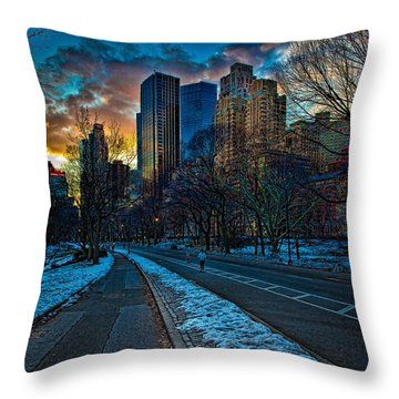 Manhattan Sunset Throw Pillow by Chris Lord