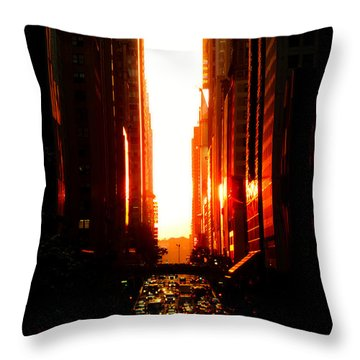 Manhattanhenge Sunset Overlooking Times Square - Nyc Throw Pillow by Vivienne Gucwa