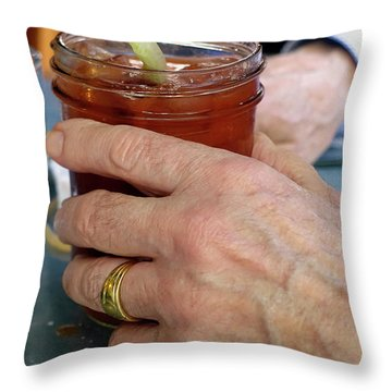 Mans Hand Holding Bloody Mary  Throw Pillow by Beth Wolff