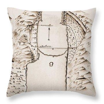 Map: Danube Throw Pillow by Granger