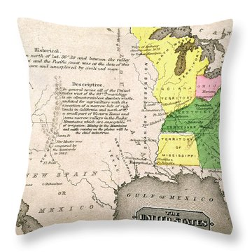 Map Of The United States Throw Pillow by John Warner Barber and Henry Hare