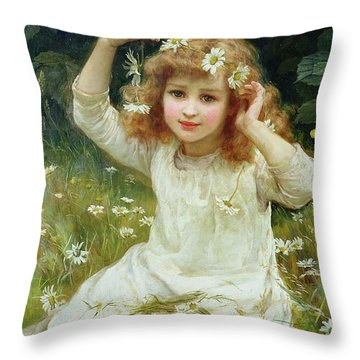 Marguerites Throw Pillow by Frederick Morgan