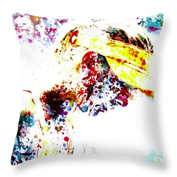 Maria Sharapova Paint Splatter 4p                 Throw Pillow by Brian Reaves
