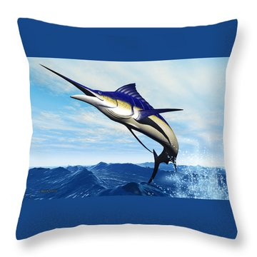Marlin Jump Throw Pillow by Corey Ford
