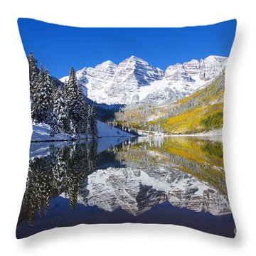 Maroon Lake And Bells 1 Throw Pillow by Ron Dahlquist - Printscapes