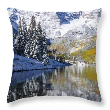 Maroon Lake And Bells 2 Throw Pillow by Ron Dahlquist - Printscapes