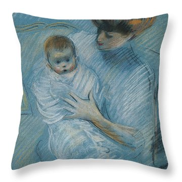 Maternity Throw Pillow by Paul Cesar Helleu
