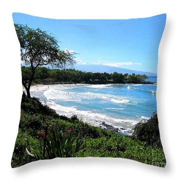 Mauna Kea Beach Throw Pillow by Bette Phelan