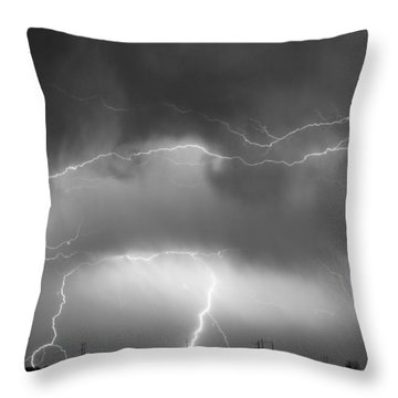 May Showers - Lightning Thunderstorm  Bw 5-10-2011 Throw Pillow by James BO  Insogna