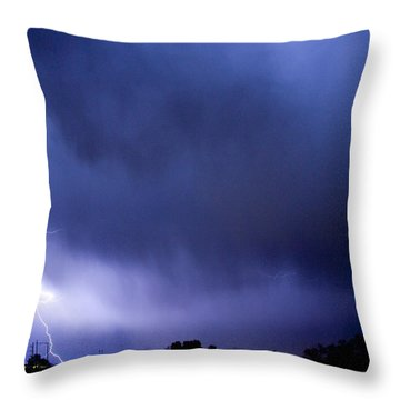 May Showers 3 In Color - Lightning Thunderstorm 5-10-2011 Boulde Throw Pillow by James BO  Insogna