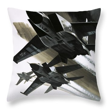 Mcdonnell Douglas F15 Eagle Jet Fighter Throw Pillow by Wilf Hardy