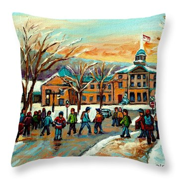 Mcgill Gates Sherbrooke Street Montreal Throw Pillow by Carole Spandau