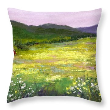 Meadow Of Flowers Throw Pillow by David Patterson