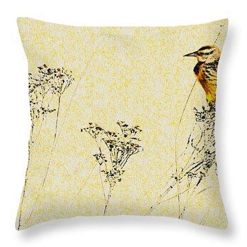 Meadowlark In Kansas Prairie 1 Throw Pillow by Anna Louise