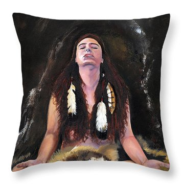 Medicine Woman Throw Pillow by J W Baker