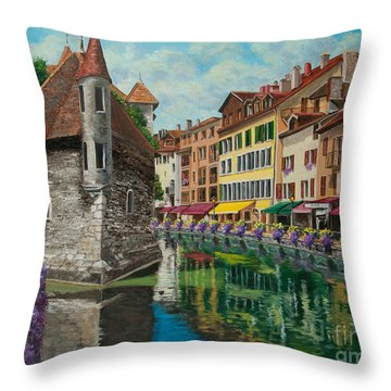 Medieval Jail In Annecy Throw Pillow by Charlotte Blanchard