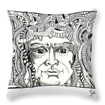 Medusa Throw Pillow by John Keaton