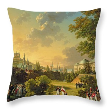 Meeting Between Napoleon I And Ferdinand IIi Throw Pillow by Hippolyte Lecomte