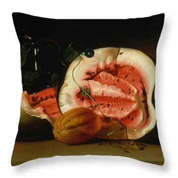 Melons And Morning Glories  Throw Pillow by Raphaelle Peale