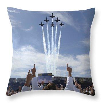 Members Of The U.s. Naval Academy Cheer Throw Pillow by Stocktrek Images