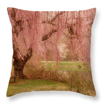 Memories - Holmdel Park Throw Pillow by Angie Tirado