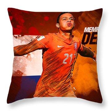 Memphis Depay Throw Pillow by Semih Yurdabak