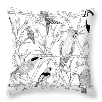 Menagerie Black And White Throw Pillow by Jacqueline Colley